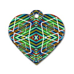 Colorful Geometric Abstract Pattern Dog Tag Heart (two Sided)