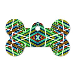 Colorful Geometric Abstract Pattern Dog Tag Bone (two Sided)
