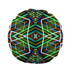 Colorful Geometric Abstract Pattern 15  Premium Round Cushion
