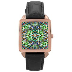 Colorful Geometric Abstract Pattern Rose Gold Leather Watch