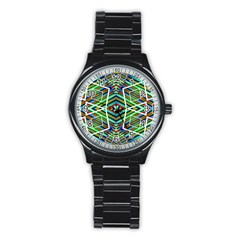 Colorful Geometric Abstract Pattern Sport Metal Watch (black)