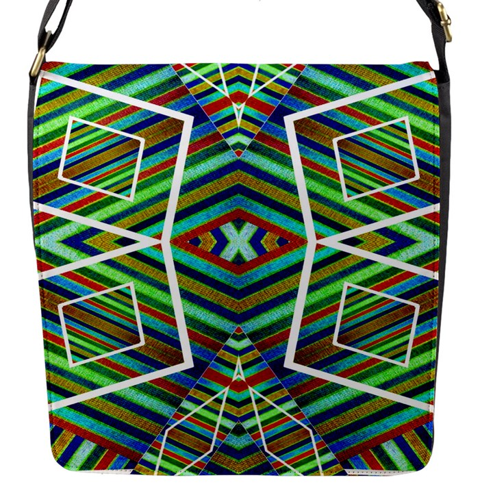 Colorful Geometric Abstract Pattern Flap Closure Messenger Bag (Small)