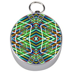Colorful Geometric Abstract Pattern Silver Compass