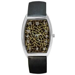 Ancient Arabesque Stone Ornament Tonneau Leather Watch