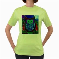 Moon Owl Women s T-shirt (Green)