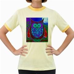 Moon Owl Women s Ringer T-shirt (Colored)