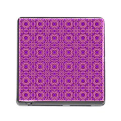 Purple Moroccan Pattern Memory Card Reader With Storage (square)