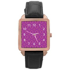 Purple Moroccan Pattern Rose Gold Leather Watch