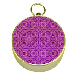 Purple Moroccan Pattern Gold Compass