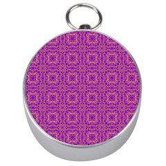 Purple Moroccan Pattern Silver Compass