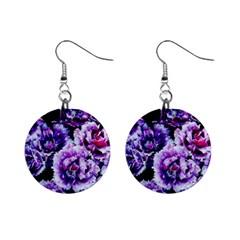 Purple Wildflowers Of Hope Mini Button Earrings