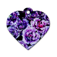 Purple Wildflowers Of Hope Dog Tag Heart (Two Sided)