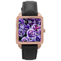 Purple Wildflowers Of Hope Rose Gold Leather Watch