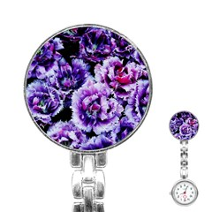 Purple Wildflowers Of Hope Stainless Steel Nurses Watch