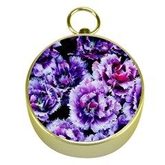 Purple Wildflowers Of Hope Gold Compass