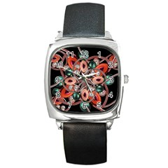 Luxury Ornate Artwork Square Leather Watch