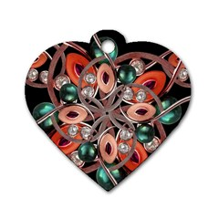 Luxury Ornate Artwork Dog Tag Heart (Two Sided)