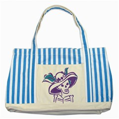 Day Of The Dead Blue Striped Tote Bag