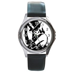 Day Of The Dead Round Leather Watch (Silver Rim)