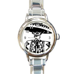 Day Of The Dead Round Italian Charm Watch