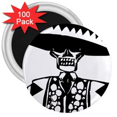 Day Of The Dead 3  Button Magnet (100 pack)