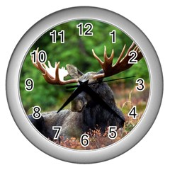 Majestic Moose Wall Clock (silver)