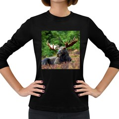Majestic Moose Women s Long Sleeve T Shirt (dark Colored)