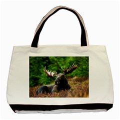 Majestic Moose Twin-sided Black Tote Bag