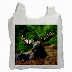 Majestic Moose White Reusable Bag (one Side)