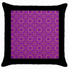 Purple Moroccan Pattern Black Throw Pillow Case