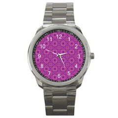 Purple Moroccan Pattern Sport Metal Watch