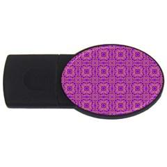 Purple Moroccan Pattern 4gb Usb Flash Drive (oval)