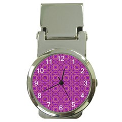 Purple Moroccan Pattern Money Clip with Watch