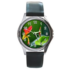 Lily 1 Round Leather Watch (Silver Rim)