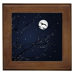 Night Birds and Full Moon Framed Ceramic Tile