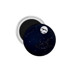 Night Birds and Full Moon 1.75  Button Magnet