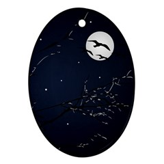 Night Birds and Full Moon Oval Ornament
