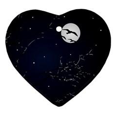 Night Birds and Full Moon Heart Ornament