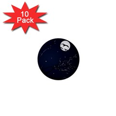 Night Birds And Full Moon 1  Mini Button (10 Pack)