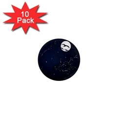 Night Birds And Full Moon 1  Mini Button Magnet (10 Pack)