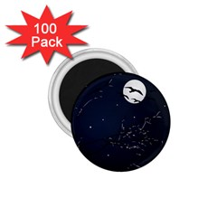 Night Birds and Full Moon 1.75  Button Magnet (100 pack)