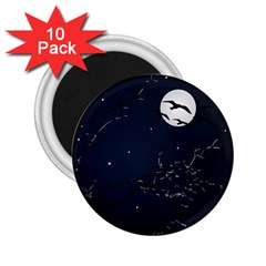 Night Birds And Full Moon 2 25  Button Magnet (10 Pack)