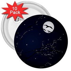 Night Birds And Full Moon 3  Button (10 Pack)