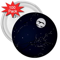Night Birds and Full Moon 3  Button (100 pack)