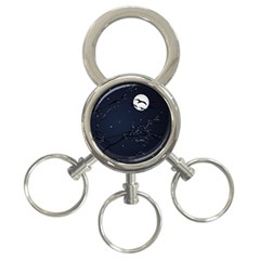 Night Birds And Full Moon 3 Ring Key Chain