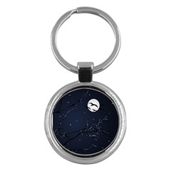 Night Birds And Full Moon Key Chain (round)