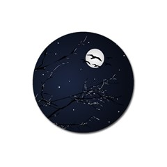 Night Birds and Full Moon Magnet 3  (Round)
