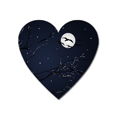 Night Birds And Full Moon Magnet (heart)