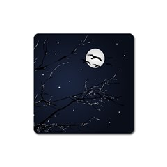 Night Birds And Full Moon Magnet (square)