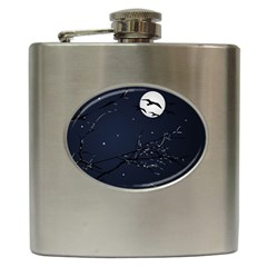 Night Birds And Full Moon Hip Flask
